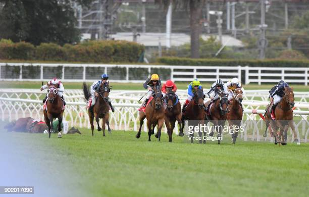 Billy Egan riding Widgee Turf winning Race 6 during Melbourne Racing at Caulfield Racecourse on January 7 2018 in Melbourne Australia Beau Mertens is...