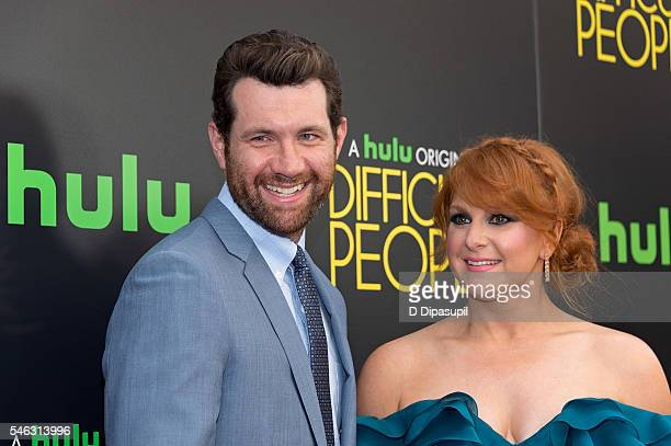 Billy Eichner and Julie Klausner attend the 'Difficult People' New York premiere at The Metrograph on July 11 2016 in New York City