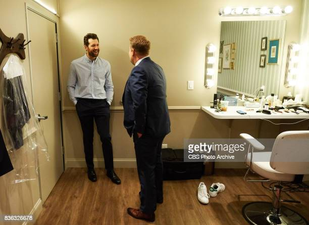 Billy Eichner chats in the green room with James Corden during 'The Late Late Show with James Corden' Monday August 14 2017 On The CBS Television...