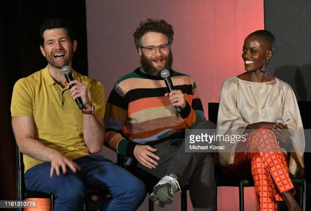 Billy Eichner Seth Rogen and Florence Kasumba speak onstage at Twitter's fan premiere of Disney's #TheLionKing at Hollywood Highland Centre on July...