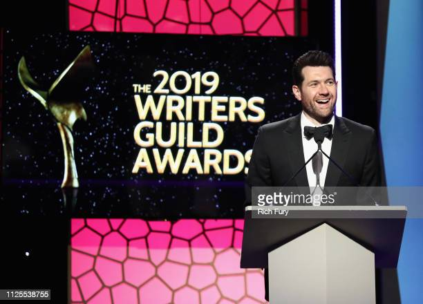Billy Eichner speaks onstage during the 2019 Writers Guild Awards LA Ceremony at The Beverly Hilton Hotel on February 17 2019 in Beverly Hills...
