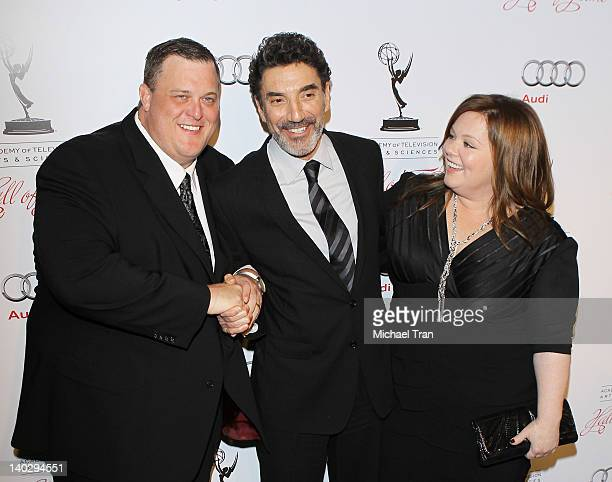 Billy Gardell Chuck Lorre and Melissa McCarthy arrive at the 21st Annual Hall of Fame gala held at Beverly Hills Hotel on March 1 2012 in Beverly...