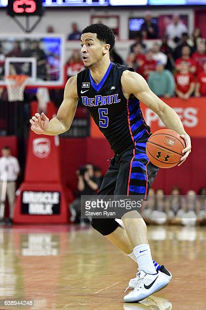 Billy Garrett Jr #5 of the DePaul Blue Demons handles the ball on offense against the St John's Red Storm at Carnesecca Arena on January 16 2017 in...