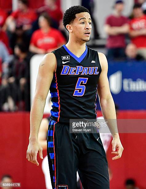 Billy Garrett Jr #5 of the DePaul Blue Demons looks on against the St John's Red Storm at Carnesecca Arena on January 16 2017 in New York City The St...