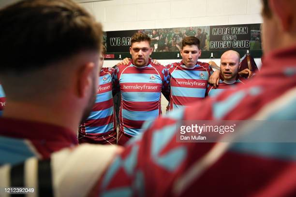 Billy Garrett of OPMs speaks to his team in the changing room prior to the Lockie Cup Semi Final match between Old Plymouthian and Mannameadians and...