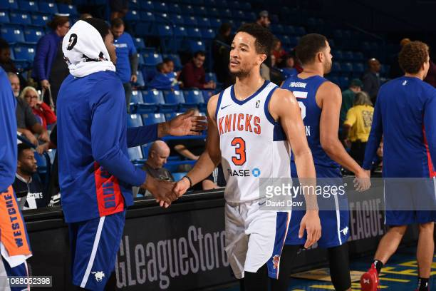 Billy Garrett of the Westchester Knicks shakes hands after an NBA GLeague game against the Delaware Blue Coats at the Bob Carpenter Center in Newark...