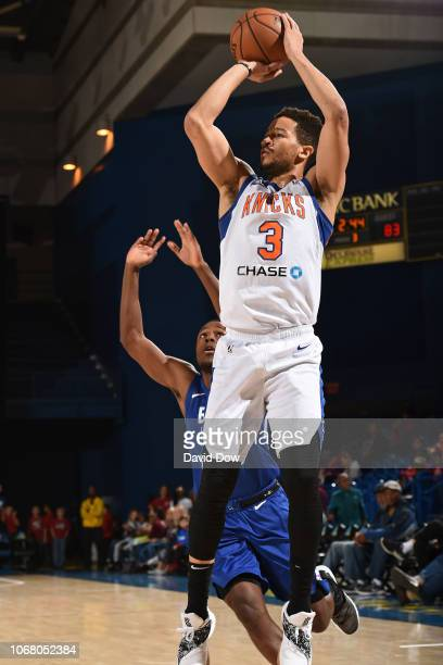 Billy Garrett of the Westchester Knicks shoots the ball during an NBA GLeague game against the Delaware Blue Coats at the Bob Carpenter Center in...