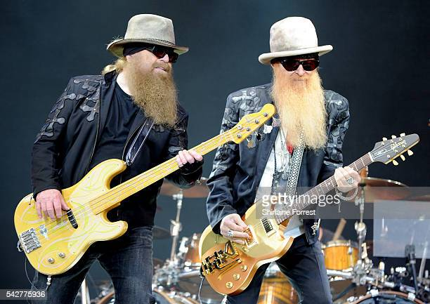 Billy Gibbons and Dusty Hill of ZZ Top perform on The Pyramid Stage at Glastonbury Festival 2016 at Worthy Farm, Pilton on June 24, 2016 in...