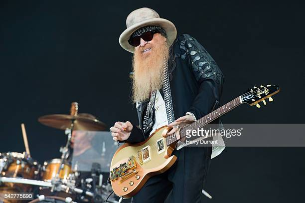 Billy Gibbons of ZZ Top performs on The Pyramid Stage Glastonbury Festival 2016 at Worthy Farm Pilton on June 24 2016 in Glastonbury England