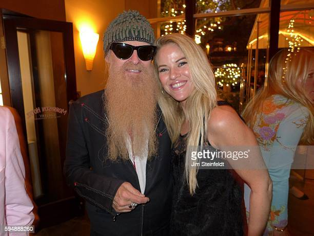 Billy Gibbons of ZZ Top with actress/musician Nikke Stevenson at the Sunset Marquis Hotel in Los Angeles California on August 11 2016