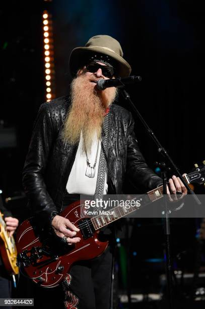 Billy Gibbons performs onstage at the Second Annual LOVE ROCKS NYC A Benefit Concert for God's Love We Deliver at Beacon Theatre on March 15 2018 in...