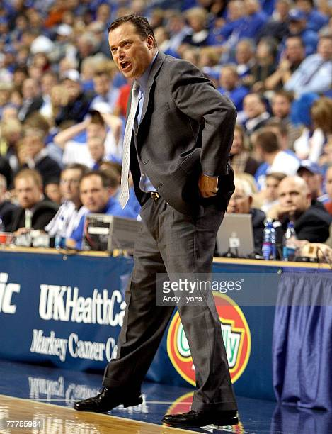 Billy Gillispie the Head Coach of the Kentucky Wildcats gives instructions to his team during the 2K Sports College Hoops Classic game against the...