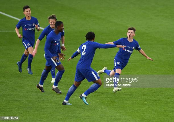 Billy Gilmore celebrates scoring for Chelsea during the FA Youth Cup Final 2nd Leg between Arsenal and Chelsea at Emirates Stadium on April 30 2018...