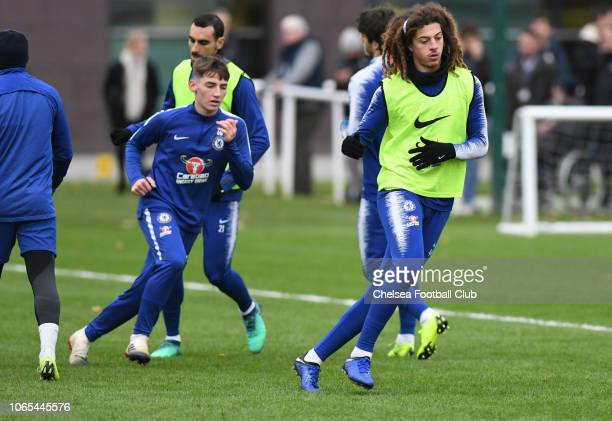 Billy Gilmour and Ethan Ampadu of Chelsea during an open training session at Chelsea Training Ground on November 26 2018 in Cobham England