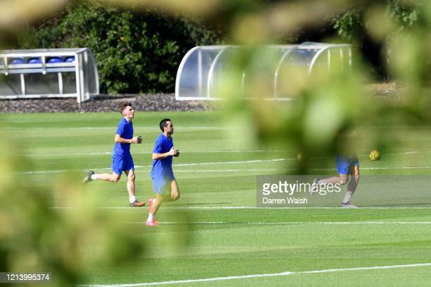 Billy Gilmour and Pedro of Chelsea during a self isolating small group training session at Chelsea Training Ground on May 19 2020 in Cobham England