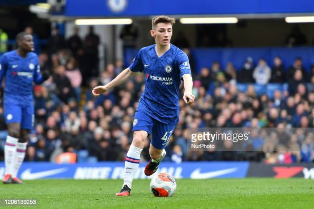 Billy Gilmour during the Premier League match between Chelsea and Everton at Stamford Bridge London on Sunday 8th March 2020