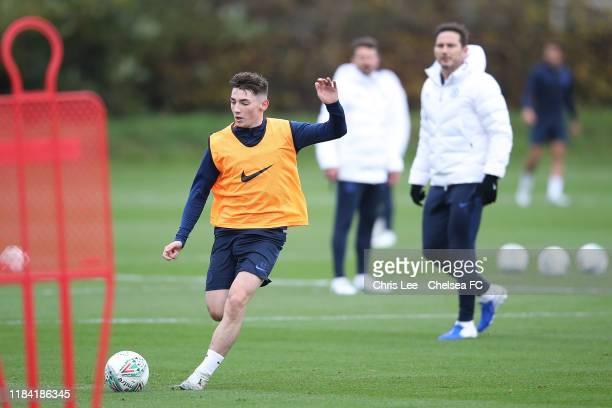 Billy Gilmour in action at Chelsea Training Ground on October 29 2019 in Cobham England