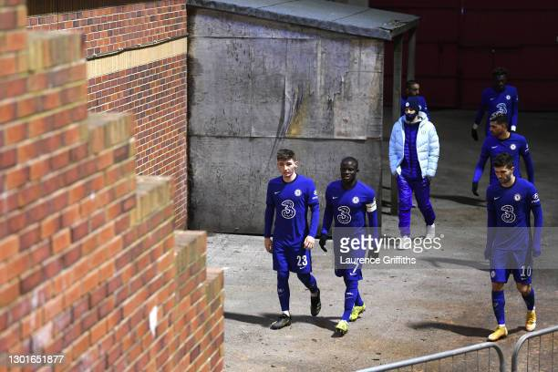 Billy Gilmour, Ngolo Kante and Christian Pulisic of Chelsea make their way out for the second half during The Emirates FA Cup Fifth Round match...