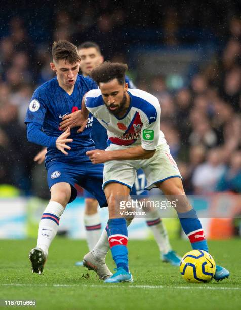 Billy Gilmour of Chelsea and Andros Townsend of Crystal Palace during the Premier League match between Chelsea FC and Crystal Palace at Stamford...