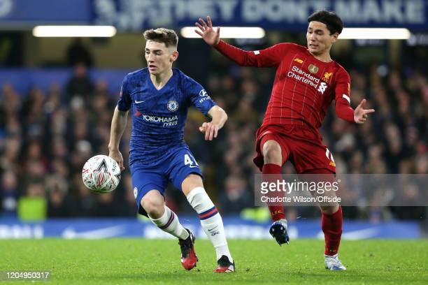 Billy Gilmour of Chelsea and Takumi Minamino of Liverpool during the FA Cup Fifth Round match between Chelsea and Liverpool at Stamford Bridge on...
