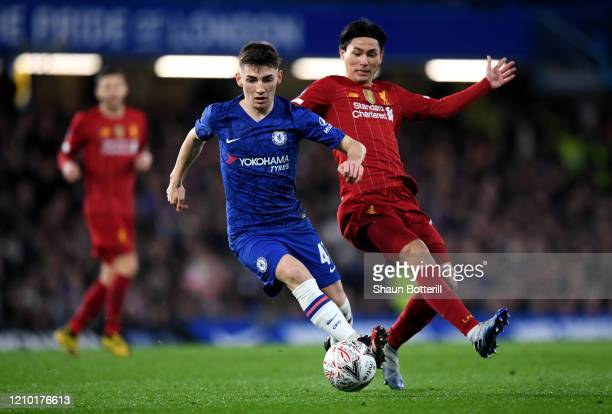 Billy Gilmour of Chelsea and Takumi Minamino of Liverpool in action during the FA Cup Fifth Round match between Chelsea FC and Liverpool FC at...
