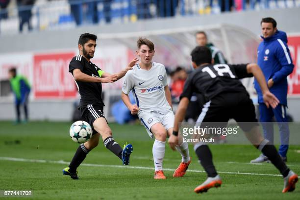 Billy Gilmour of Chelsea and Zaur Farzaliyev of Qarabag FK during the UEFA Champions League group C match between Qarabag FK and Chelsea FC at...