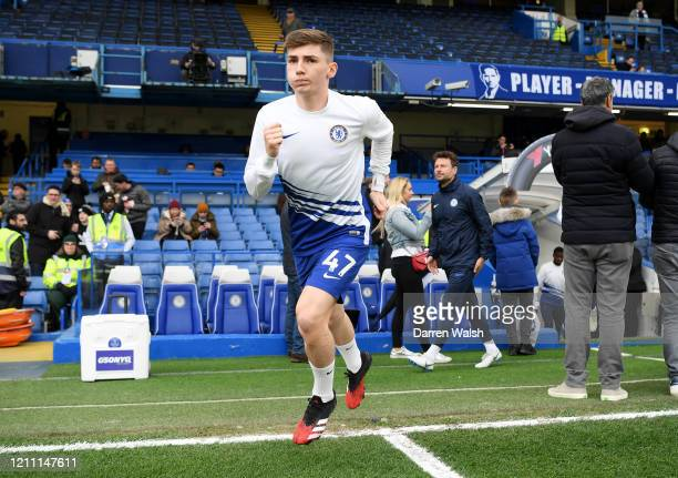 Billy Gilmour of Chelsea begins his warm up prior to the Premier League match between Chelsea FC and Everton FC at Stamford Bridge on March 08 2020...