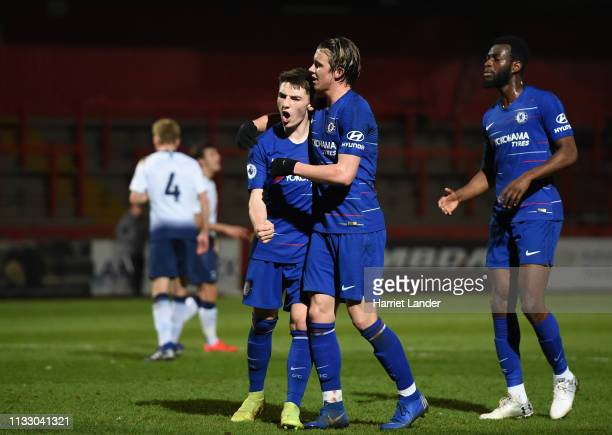 Billy Gilmour of Chelsea celebrates after scoring his team's first goal during the Premier League 2 match between Tottenham Hotspur and Chelsea at...