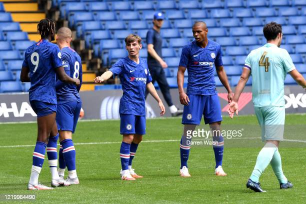 Billy Gilmour of Chelsea celebrates his goal and Chelseas 7th during a friendly match between Chelsea and Queens Park Rangers at Stamford Bridge on...