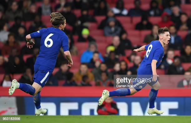Billy Gilmour of Chelsea celebrates scoring his side's first goal with Conor Gallagher during the FA Youth Cup Final second leg between Chelsea and...