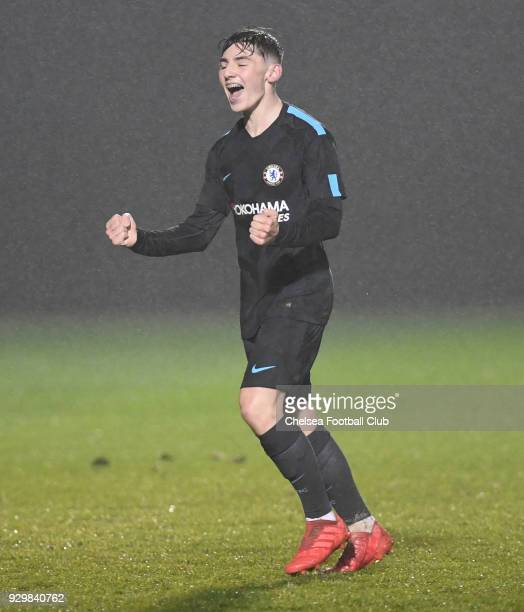 Billy Gilmour of Chelsea celebrates scoring the second goal during the U18 Premier League match between Brighton and Chelsea at Brighton and Hove...