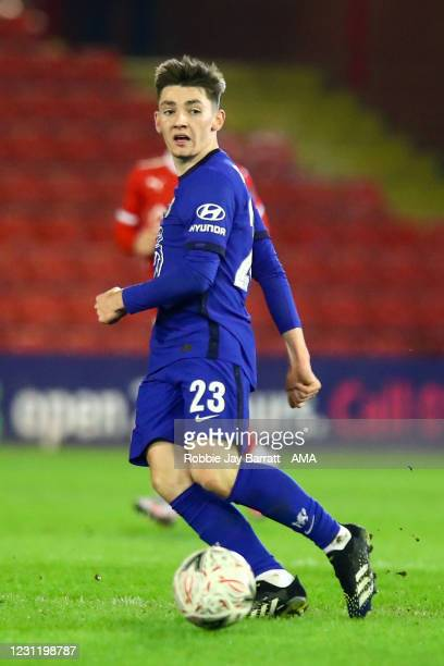 Billy Gilmour of Chelsea during The Emirates FA Cup Fifth Round match between Barnsley and Chelsea at Oakwell Stadium on February 11, 2021 in...