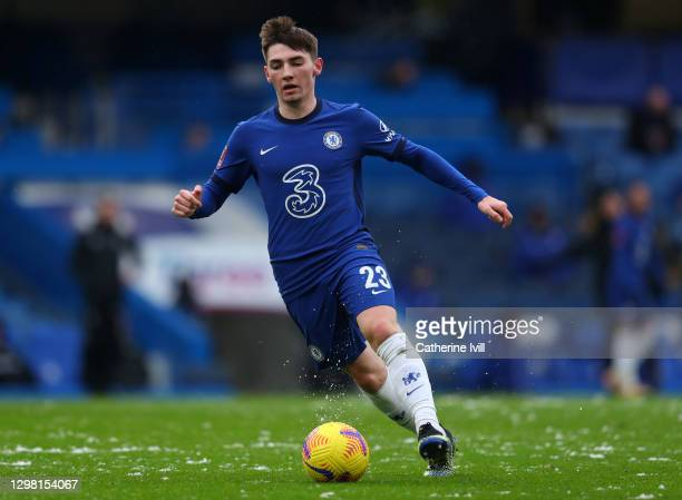 Billy Gilmour of Chelsea during The Emirates FA Cup Fourth Round match between Chelsea and Luton Town at Stamford Bridge on January 24, 2021 in...