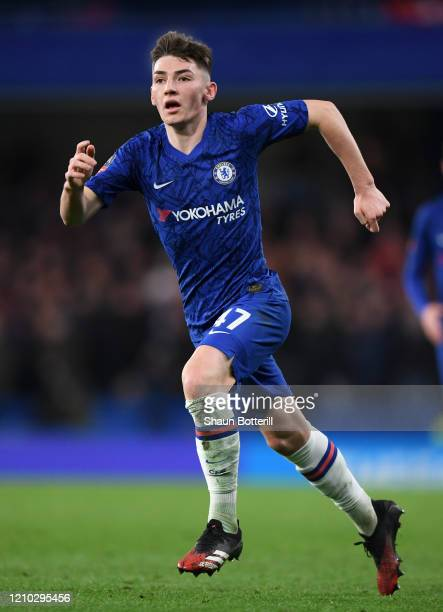 Billy Gilmour of Chelsea during the FA Cup Fifth Round match between Chelsea FC and Liverpool FC at Stamford Bridge on March 03 2020 in London England