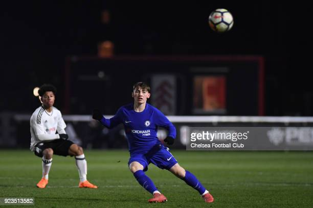 Billy Gilmour of Chelsea during the Fulham and Chelsea U18 Premier League match at Motspur Park on February 23 2018 in New Malden England