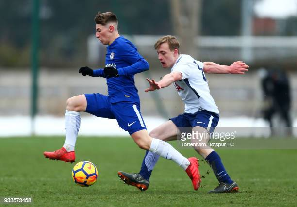 Billy Gilmour of Chelsea evades Oliver Skipp of Tottenham Hotspur during the U18 Premier League Cup Final match between Chelsea and Tottenham Hotspur...