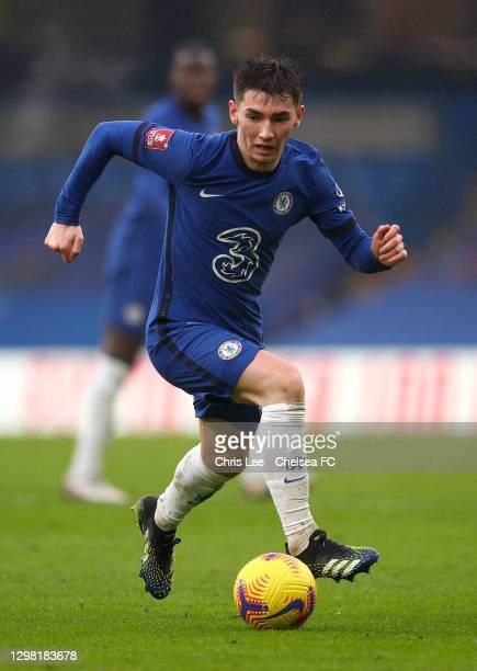 Billy Gilmour of Chelsea in action during The Emirates FA Cup Fourth Round match between Chelsea and Luton Town at Stamford Bridge on January 24,...