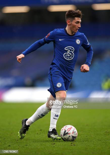 Billy Gilmour of Chelsea in action during the FA Cup Third Round match between Chelsea and Morecambe at Stamford Bridge on January 10, 2021 in...