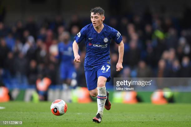 Billy Gilmour of Chelsea in action during the Premier League match between Chelsea FC and Everton FC at Stamford Bridge on March 08 2020 in London...