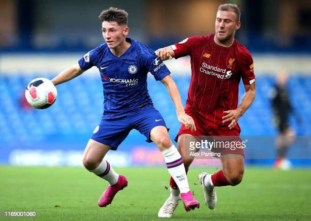 Billy Gilmour of Chelsea is closed down by Herbie Kane of Liverpool during the Premier League 2 match between Chelsea and Liverpool at Stamford...