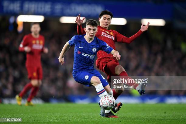 Billy Gilmour of Chelsea is closed down by Takumi Minamino of Liverpool during the FA Cup Fifth Round match between Chelsea FC and Liverpool FC at...