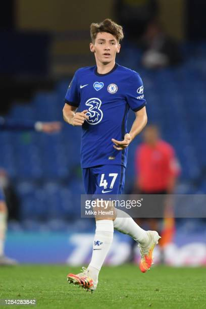 Billy Gilmour of Chelsea looks on during the Premier League match between Chelsea FC and Watford FC at Stamford Bridge on July 04, 2020 in London,...