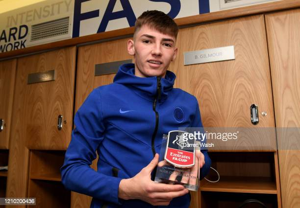 Billy Gilmour of Chelsea poses with the man of the match award following the FA Cup Fifth Round match between Chelsea FC and Liverpool FC at Stamford...
