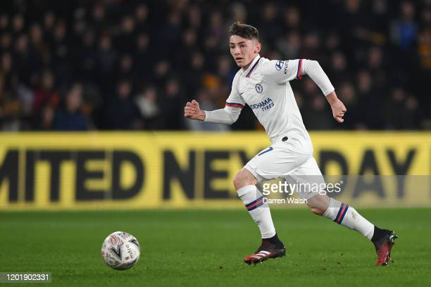 Billy Gilmour of Chelsea runs with the ball during the FA Cup Fourth Round match between Hull City FC and Chelsea FC at KCOM Stadium on January 25...