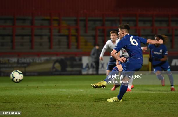 Billy Gilmour of Chelsea scores a penalty for his team's first goal during the Premier League 2 match between Tottenham Hotspur and Chelsea at The...