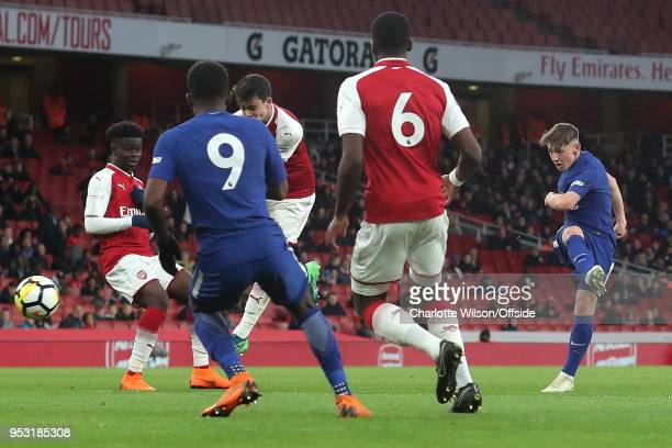 Billy Gilmour of Chelsea scores the opening goal during The Youth Cup Final Second Leg between Arsenal and Chelsea at Emirates Stadium on April 30...
