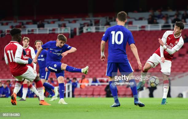 Billy Gilmour of Chelsea shoots and scores his side's first goal during the FA Youth Cup Final second leg between Chelsea and Arsenal at Emirates...
