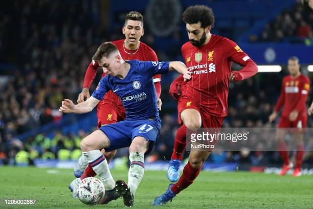 Billy Gilmour of Chelsea tackling Mohamed Salah of Liverpool during the FA Cup match between Chelsea and Liverpool at Stamford Bridge London on...