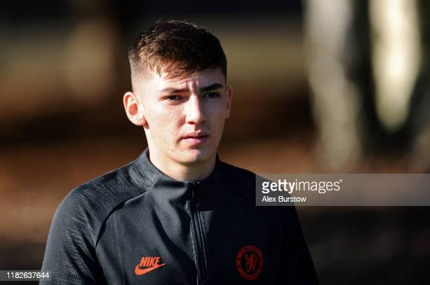 Billy Gilmour of Chelsea walks out prior to the Chelsea FC training session on the eve of the UEFA Champions League match between Ajax and Chelsea FC...