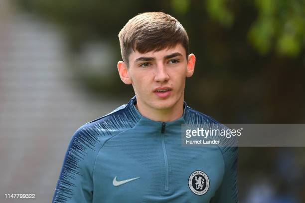 Billy Gilmour of Chelsea walks out prior to the Chelsea Training Session on the eve of their UEFA Europa League semi final against Eintracht...